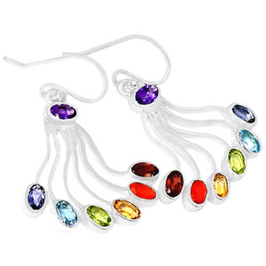 Healing Chakra 925 Sterling Silver Earrings Jewelry CP210