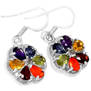Flower Power Chakra 925 Sterling Silver Earrings Jewelry CP145