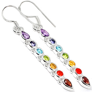 Healing Chakra 925 Sterling Silver Earrings Jewelry AAACP139