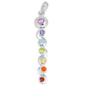 Healing Chakra 925 Sterling Silver Pendant Jewelry AAACP203