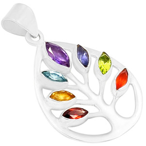 Tree of Life Healing Chakra 925 Sterling Silver Pendant Jewelry AAACP110