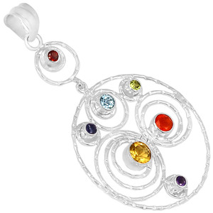 Circles Chakra 925 Sterling Silver Pendant Jewelry CP191