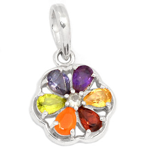 Flower Power Chakra 925 Sterling Silver Pendant Jewelry CP141