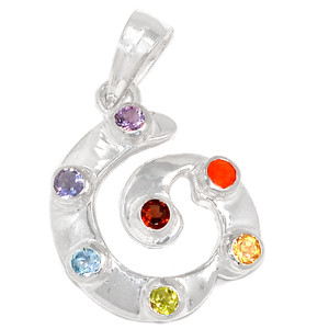 Spiral Chakra 925 Sterling Silver Pendant Jewelry CP160