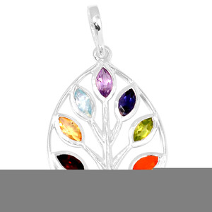 Tree of Life Chakra 925 Sterling Silver Pendant Jewelry CP178
