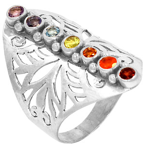 Healing Chakra 925 Sterling Silver Ring Jewelry s.8 CP213-8