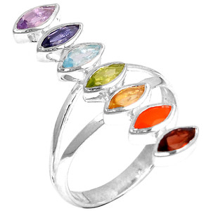 Healing Chakra 925 Sterling Silver Ring Jewelry s.8 CP134-8