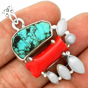 Tibetan Turquoise Rough, Bamboo Coral & Pearl 925 Silver Pendant Jewelry PP18634