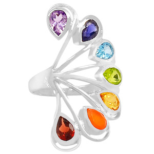 Healing Chakra 925 Sterling Silver Ring Jewelry s.6 CP234-6