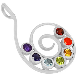 Spiral of Life Chakra 925 Sterling Silver Pendant Jewelry AAACP103