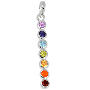 Healing Chakra 925 Sterling Silver Pendant Jewelry AAACP188