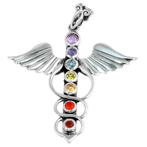 Winged Caduceus Chakra 925 Sterling Silver Pendant Jewelry AAACP195