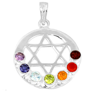 Star Of David Chakra 925 Sterling Silver Pendant Jewelry AAACP200