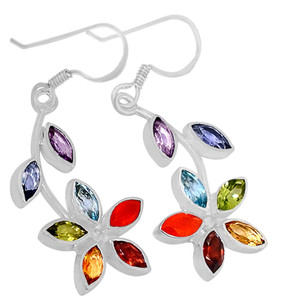 Healing Chakra 925 Sterling Silver Earrings Jewelry AAACP202