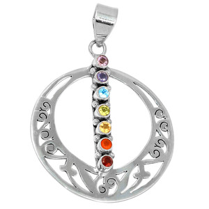 Healing Chakra 925 Sterling Silver Pendant Jewelry AAACP214