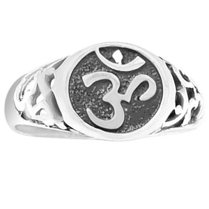 Aum Om 925 Sterling Silver Ring Plain Design Jewelry s.9 SPJ2150-9