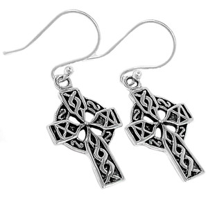 Celtic Cross 925 Sterling Silver Earrings Plain Design Jewelry SPJ2070