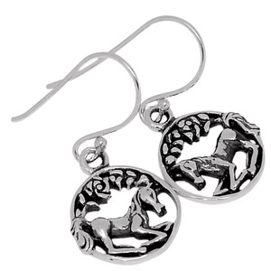 Celtic Horse 925 Sterling Silver Earrings Plain Design Jewelry SPJ2012