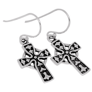 Cross 925 Sterling Silver Earrings Plain Design Jewelry SPJ2014