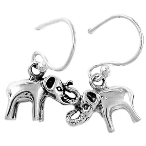 Elephant 925 Sterling Silver Earrings Plain Design Jewelry SPJ2076