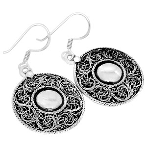 Filigree 925 Sterling Silver Earrings Plain Design Jewelry SPJ2044