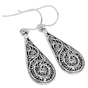 Filigree 925 Sterling Silver Earrings Plain Design Jewelry SPJ2001