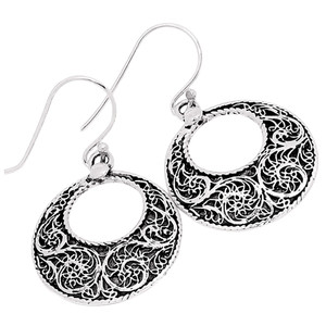 Filigree 925 Sterling Silver Earrings Plain Design Jewelry AAASPJ2002