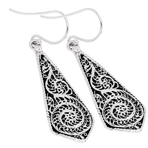 Filigree 925 Sterling Silver Earrings Plain Design Jewelry AAASPJ2003