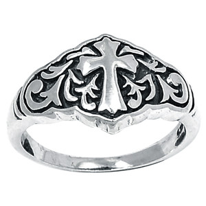 Filigree Swirl Cross 925 Sterling Silver Ring Plain Design Jewelry s.8 SPJ2156-8