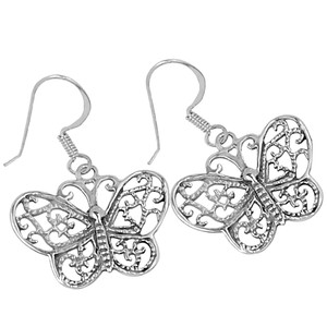 Filigree Swirl Magical Butterfly 925 Sterling Silver Earrings Plain Design Jewelry SPJ2084