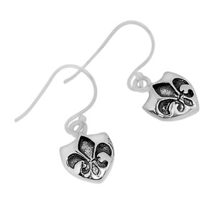 Fleur De Lis 925 Sterling Silver Earrings Plain Design Jewelry SPJ2026