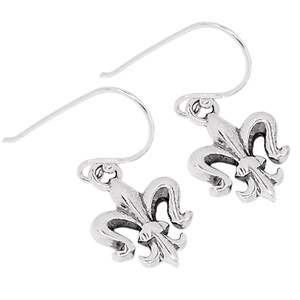 Fleur De Lis 925 Sterling Silver Earrings Plain Design Jewelry SPJ2020