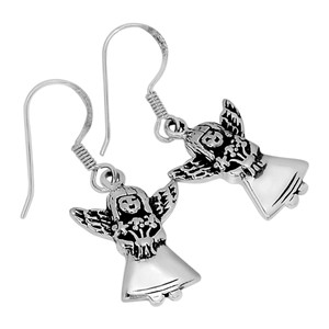 Guardian Angel 925 Sterling Silver Earrings Plain Design Jewelry SPJ2043