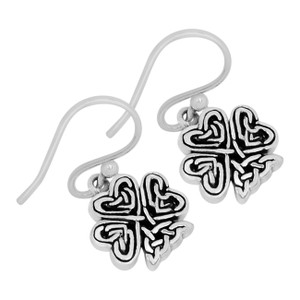 Irish Shamrock 925 Sterling Silver Earrings Plain Design Jewelry SPJ2064