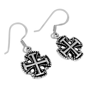Jerusalem Cross 925 Sterling Silver Earrings Plain Design Jewelry SPJ2041