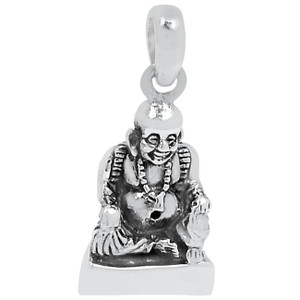 Laughing Buddha 925 Sterling Silver Pendant Plain Design Jewelry SPJ2228