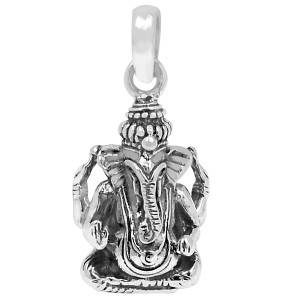 Lord Ganesha 925 Sterling Silver Pendant Plain Design Jewelry SPJ2183