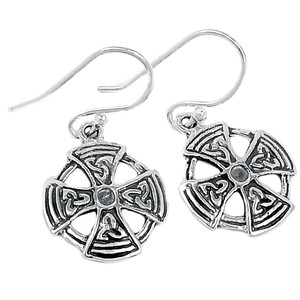 Maltese Cross 925 Sterling Silver Earrings Plain Design Jewelry SPJ2074