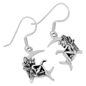 Moon Fairy 925 Sterling Silver Earrings Plain Design Jewelry AAASPJ2052