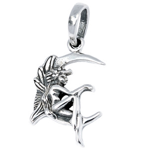 Moon Fairy 925 Sterling Silver Pendant Plain Design Jewelry AAASPJ2051