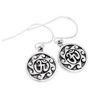 Om Religious 925 Sterling Silver Earrings Plain Design Jewelry SPJ2018