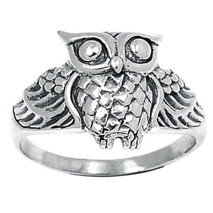 Owl 925 Sterling Silver Ring Plain Design Jewelry s.7 SPJ2152-7