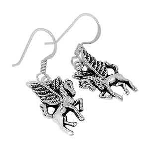 Pegasus / Flying Horse 925 Sterling Silver Earrings Plain Design Jewelry SPJ2024