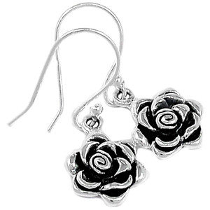 Rose Flower 925 Sterling Silver Earrings Plain Design Jewelry SPJ2075