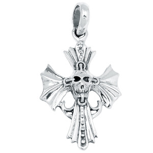 Skull Cross 925 Sterling Silver Pendant Plain Design Jewelry SPJ2108
