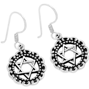 Star of David 925 Sterling Silver Earrings Plain Design Jewelry AAASPJ2037