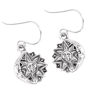 Sun Moon Stars Celestial  925 Sterling Silver Earrings Plain Design Jewelry SPJ2022