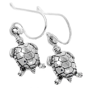 Tortoise 925 Sterling Silver Earrings Plain Design Jewelry SPJ2080
