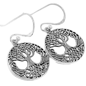 Tree of Life 925 Sterling Silver Earrings Plain Design Jewelry SPJ2082