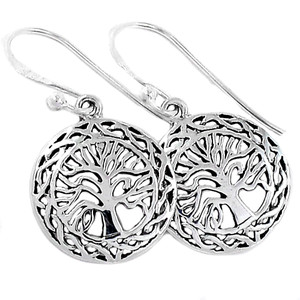 Tree of Life 925 Sterling Silver Earrings Plain Design Jewelry AAASPJ2077